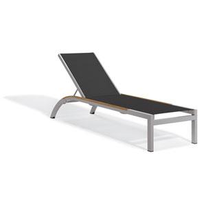 Argento Armless Chaise Lounge - Powder Coated Aluminum Frame - Titanium Sling - Tekwood Natural Side Rails - Set of 4