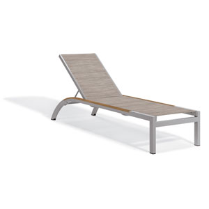 Argento Armless Chaise Lounge - Powder Coated Aluminum Frame - Bellows Sling - Tekwood Natural Side Rails - Set of 2
