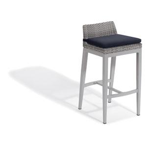 Argento Bar Stool - Argento Resin Wicker - Powder Coated Aluminum Legs - Midnight Blue Polyester Cushion