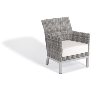 Argento Club Chair - Argento Resin Wicker - Powder Coated Aluminum Legs - Eggshell White Polyester Cushion