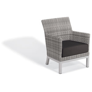 Argento Club Chair - Argento Resin Wicker - Powder Coated Aluminum Legs - Jet Black Polyester Cushion