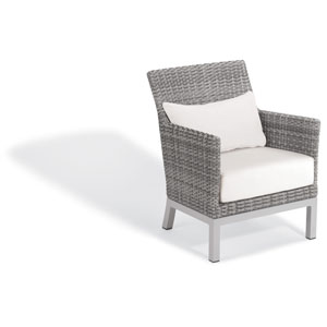 Argento Club Chair with Lumbar Pillow - Argento Resin Wicker - Powder Coated Aluminum Legs - Eggshell White Polyester Cushion