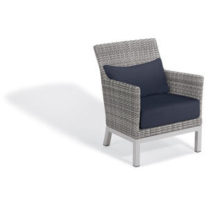 Argento Club Chair with Lumbar Pillow - Argento Resin Wicker - Powder Coated Aluminum Legs - Midnight Blue Polyester Cushion