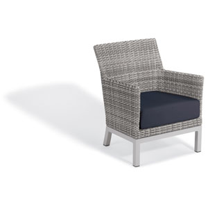 Argento Club Chair - Argento Resin Wicker - Powder Coated Aluminum Legs - Midnight Blue Polyester Cushion