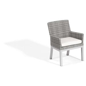 Travira Woven Armchair - Set of 2 - Argento Resin Wicker - Powder Coated Aluminum Legs - Eggshell White Polyester Cushion