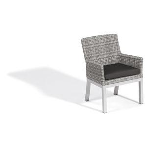 Travira Woven Armchair - Set of 2 - Argento Resin Wicker - Powder Coated Aluminum Legs - Jet Black Polyester Cushion