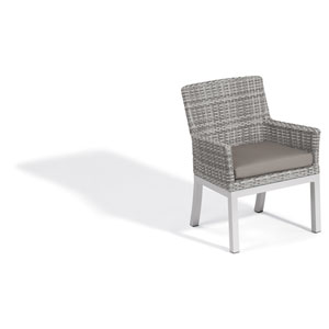 Travira Woven Armchair - Set of 2 - Argento Resin Wicker - Powder Coated Aluminum Legs - Stone Polyester Cushion