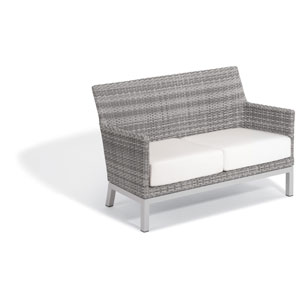 Argento Loveseat - Argento Resin Wicker - Powder Coated Aluminum Legs - Eggshell White Polyester Cushion