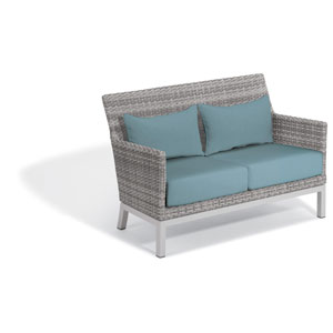 Argento Loveseat with Lumbar Pillow - Argento Resin Wicker - Powder Coated Aluminum Legs - Ice Blue Polyester Cushion and