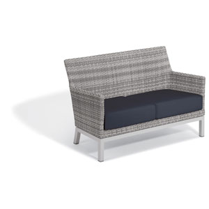 Argento Loveseat - Argento Resin Wicker - Powder Coated Aluminum Legs - Midnight Blue Polyester Cushion