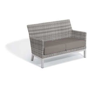 Argento Loveseat - Argento Resin Wicker - Powder Coated Aluminum Legs - Stone Polyester Cushion