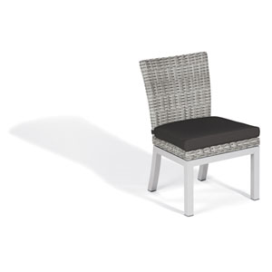 Travira Woven Side Chair - Set of 2 - Argento Resin Wicker - Powder Coated Aluminum Legs - Jet Black Polyester Cushion