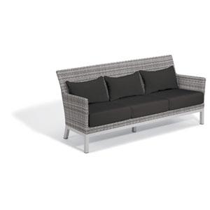 Argento Sofa - Argento Resin Wicker - Powder Coated Aluminum Legs - Jet Black Polyester Cushion