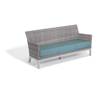 Argento Sofa with Lumbar Pillow - Argento Resin Wicker - Powder Coated Aluminum Legs - Ice Blue Polyester Cushion and Pillow