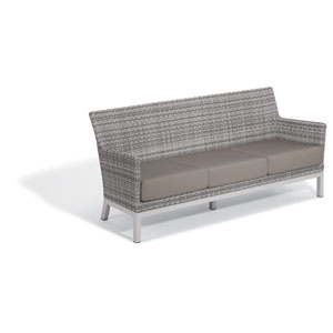 Argento Sofa with Lumbar Pillow - Argento Resin Wicker - Powder Coated Aluminum Legs - Stone Polyester Cushion and Pillow
