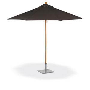 9 ft. Octagon Sunbrella Market Umbrella - Solid Tropical Hardwood Frame - Black Sunbrella® Fabric Shade
