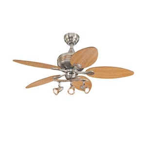Xavier 44-Inch Brushed Nickel with Copper Accents Ceiling Fan