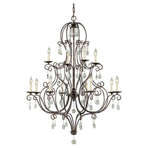Hampshire Bronze 12-Light Chandelier