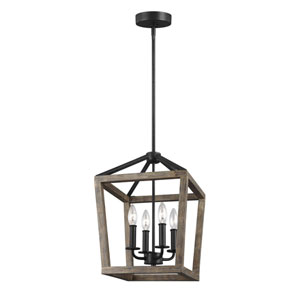 Barnfield Iron and Oak Wood 12-Inch Four-Light Lantern Pendant