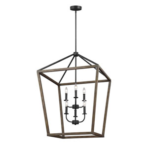 Barnfield Iron and Oak Wood Six-Light Lantern Pendant