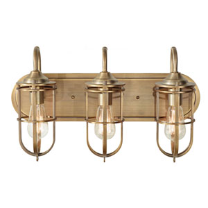 Caleb Antique Brass Three-Light Bath Vanity