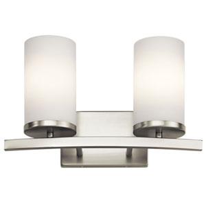 Charlton Brushed Nickel 15-Inch Two-Arm Bath Light