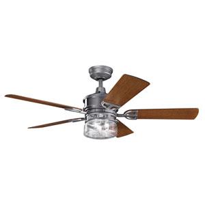 AspenHill Patio Weathered Steel Powder Coat 52-Inch Outdoor Ceiling Fan