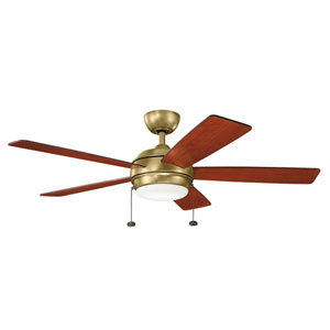 Gladstone Natural Brass 52-Inch LED Ceiling Fan with Light Kit