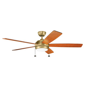 Gladstone Natural Brass 60-Inch LED Ceiling Fan with Light Kit