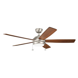 Gladstone Brushed Nickel 60-Inch LED Ceiling Fan with Light Kit