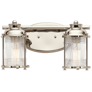 Pavilion Polished Nickel Two-Light Bath Sconce