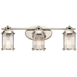Pavilion Polished Nickel Three-Light Bath Sconce