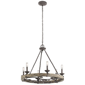 Beaumont Weathered Zinc 28.5-Inch Six-Light Chandelier