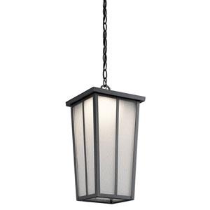 Riverside Textured Black One-Light Outdoor LED Pendant