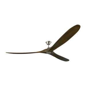 Turner Grand Brushed Steel 99-Inch Ceiling Fan with Dark Walnut Blades