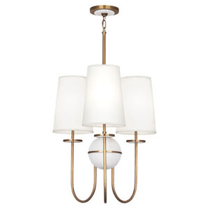 Fortune Alabaster And Aged Brass Three-Light Chandelier with White Shades