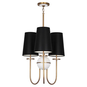 Fortune Alabaster And Aged Brass Three-Light Chandelier with Black Shades