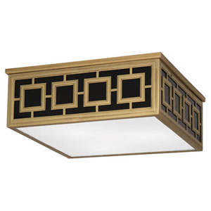 Prescott Antique Brass Three-Light Flush Mount