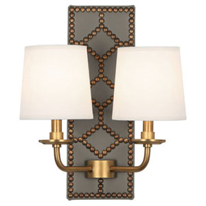 Argyle Lightfoot Aged Brass and Caruso Mushroom Two-Light Sconce