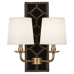 Argyle Lightfoot Aged Brass and Caruso Black Two-Light Sconce