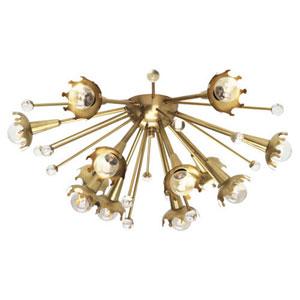 Celestial Antique Brass Twelve-Light Flush Mount