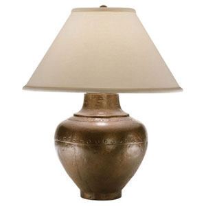 Belmont Copper One-Light Table Lamp with Natural Fabric Shade