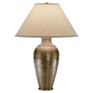 Belmont Copper One-Light Table Lamp with Brussels Linen Shade