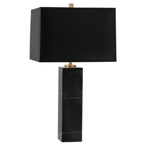 Donatella Black Marble One-Light Table Lamp with Black Shade