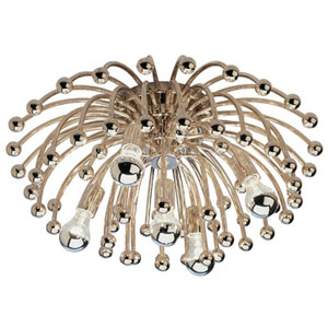 Fountain Polished Nickel Five-Light Flush Mount