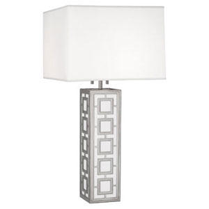 Prescott Polished Nickel and White Acrylic Two-Light Table Lamp