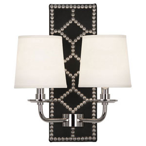 Argyle Lightfoot Polished Nickel and Caruso Black Two-Light Sconce