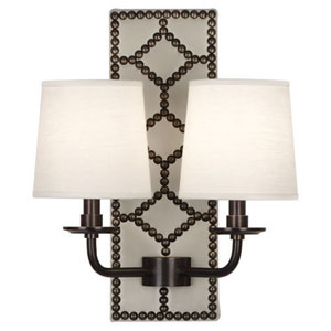 Argyle Lightfoot Deep Patina Bronze and Caruso Marble Two-Light Sconce