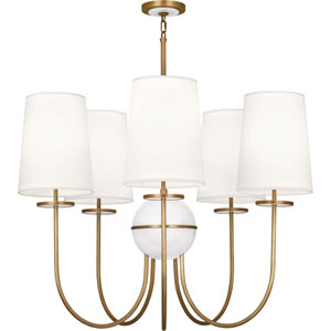 Fortune Aged Brass Five-Light Chandelier with White Shades and Alabaster Glass
