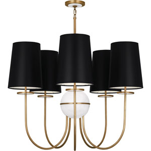 Fortune Aged Brass Five-Light Chandelier with Black Shades and Alabaster Glass